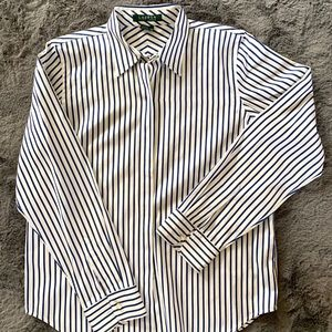 Lauren navy striped oxford shirt